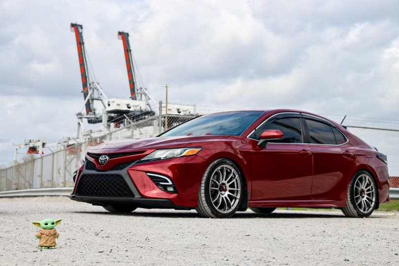 Red 2018 Toyota Camry running AVID1 Av20 with Lionhart Lh-five tires and D2 Racing Lowering Springs
