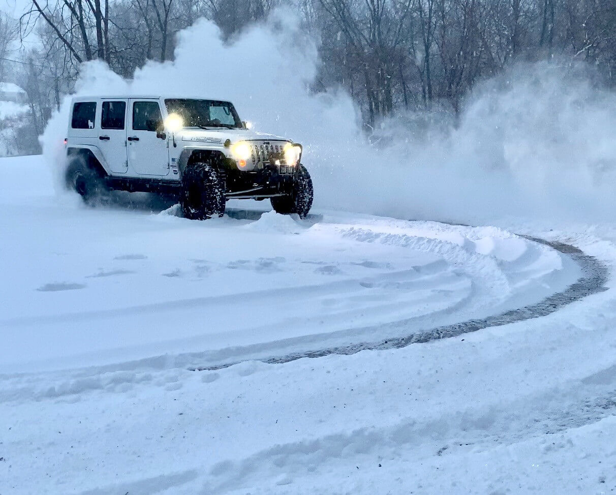 Jeep Drifting in Snow