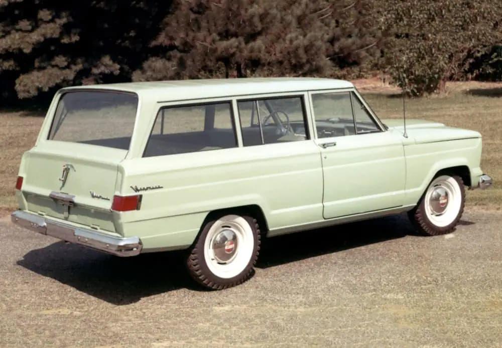 Pale green Jeep Grand Wagoneer in 1963