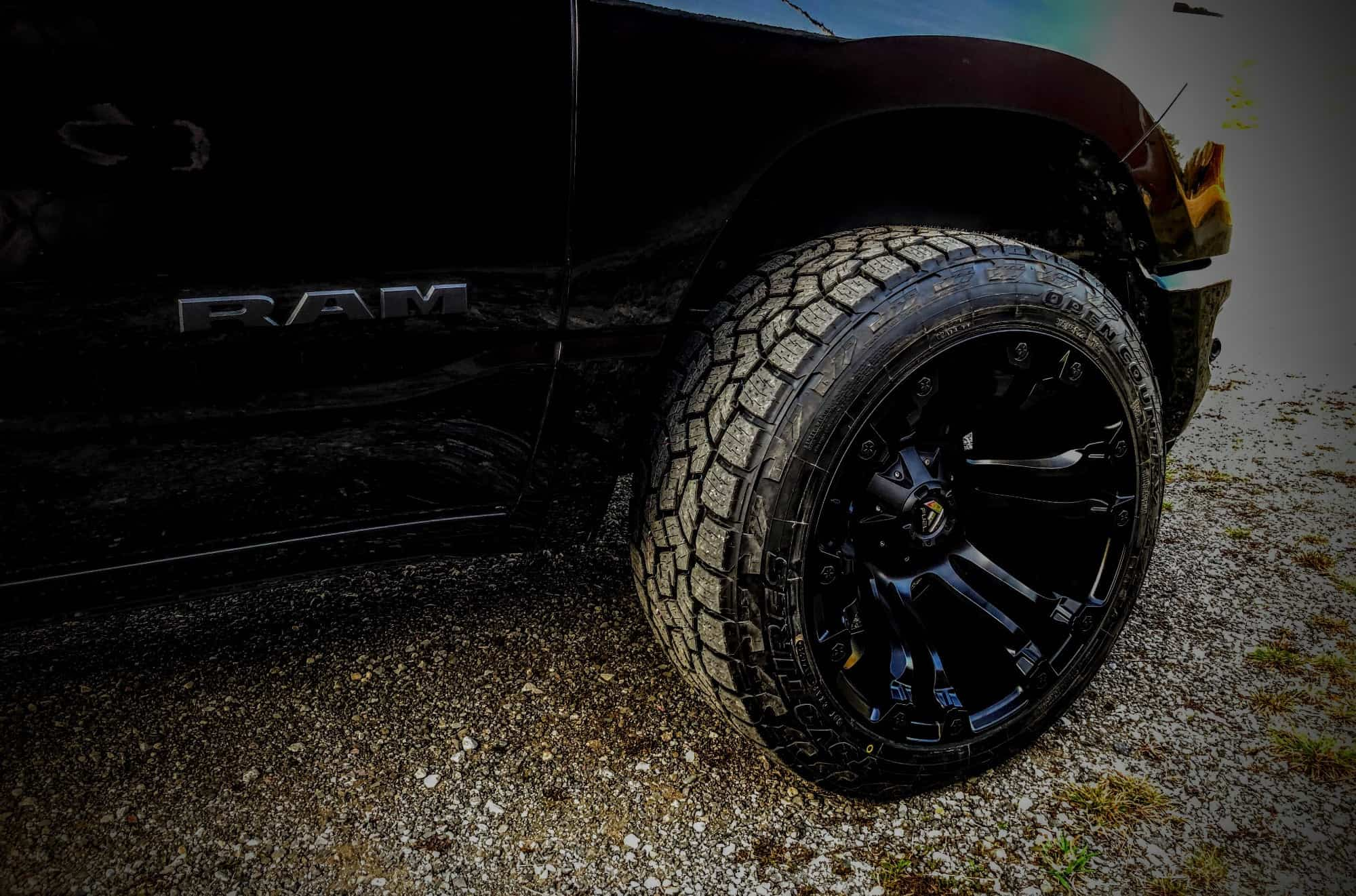Tire shot of a 2020 Ram 1500 running some Toyo Open Country A/T III tires