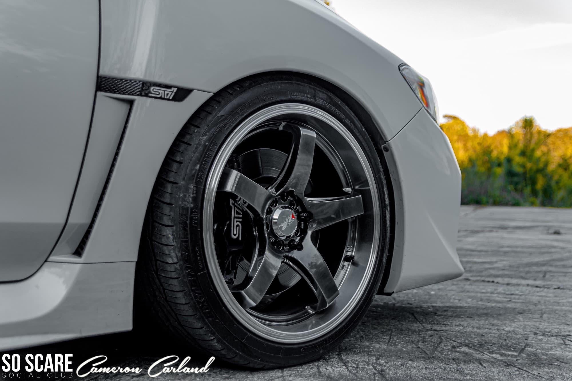 Tire shot of a 2017 SUBARU WRX STI BASE XXR 555 18x8.5 +35 Toyo Tires Extensa Hp Ii 225/40